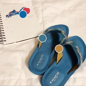 COACH | blue flip flops